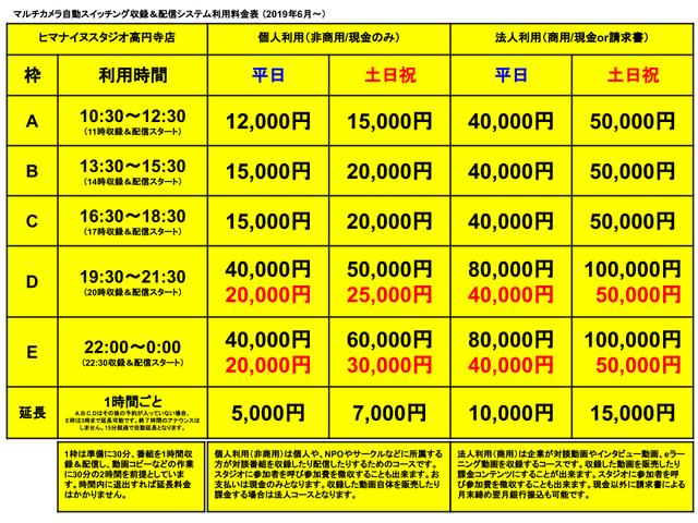 ヒマスタ高円寺店201906-料金表