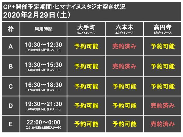CP+代替ライブ配信スタジオ枠0229