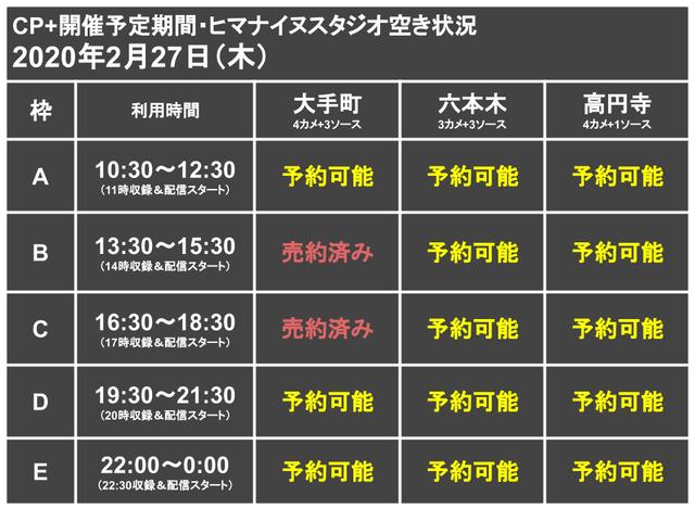 CP+代替ライブ配信スタジオ枠0227