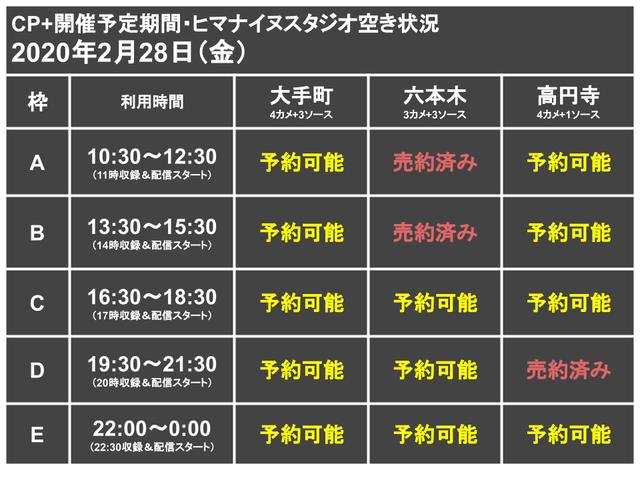 CP+代替ライブ配信スタジオ枠0228
