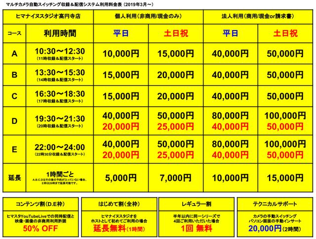 ヒマスタ高円寺店3月料金トリミング