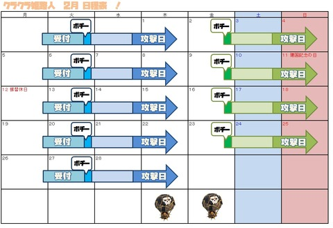 ②月日程表