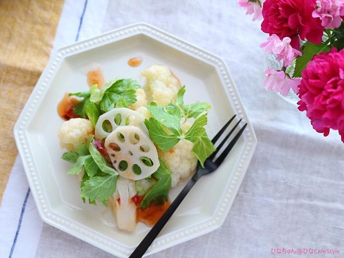 カリフラワーのスイチリサラダ☆混ぜて盛り付けるだけの簡単レシピ