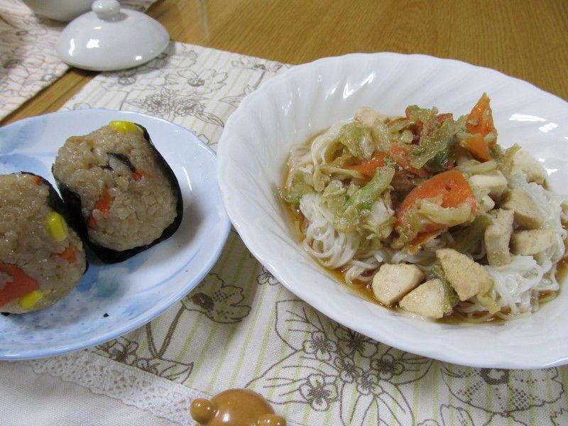 hinatunの!なちゅらる日記-素麺チャンプルー&おにぎり