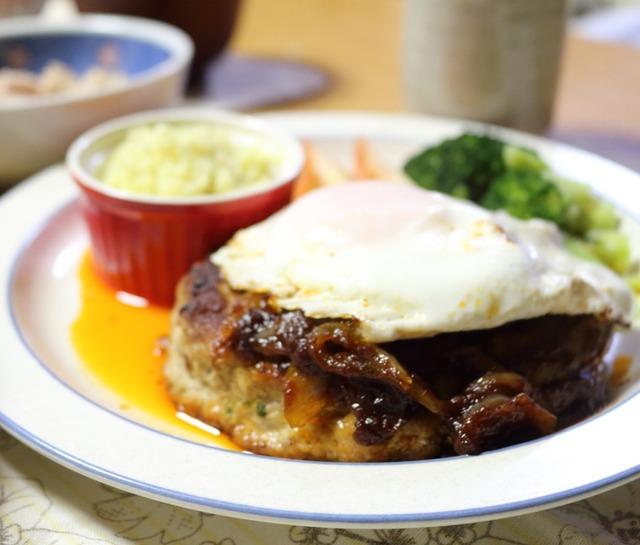 かな姐さんの「わが家のハンバーグ」(ふつうの日の絶品ごはんより)とおつまみポテトサラダ