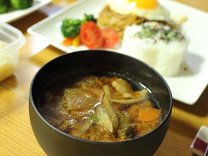 年始につけた味噌♡からの豚汁☆夜ご飯は焼きそば定食風