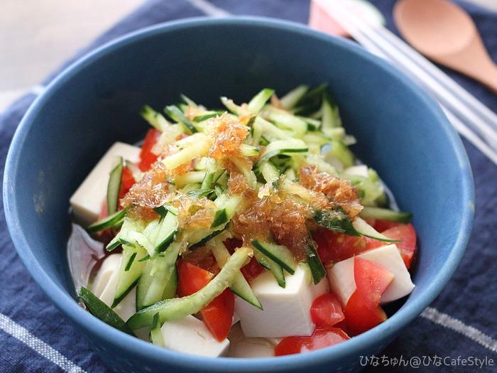 夏野菜の豆腐サラダ+米油和風ドレッシング☆ボーソー米油部