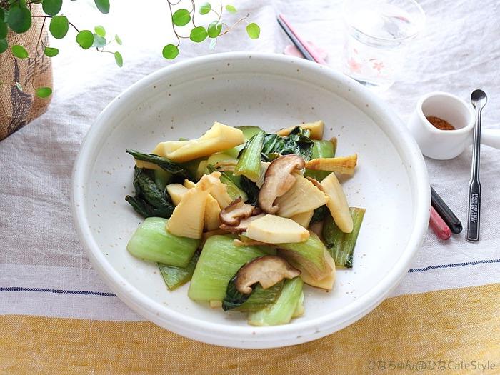 筍と青梗菜のバタポン炒め☆筍の下茹では電気圧力鍋でちゃちゃっとラクチン♪