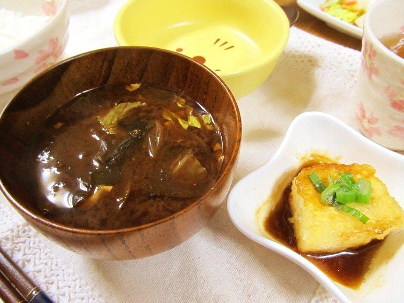 ひなちゅんの!なちゅらる日記-お味噌汁&揚げ出し豆腐