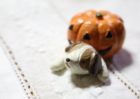 かぼちゃのおばけとわんこ