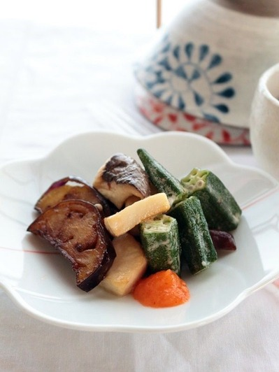 揚げ茄子とオクラ、エリンギのマヨ炒め