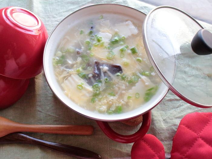 お豆腐ときのこのかきたま汁【レシピ】岐阜クッキングアンバサダー