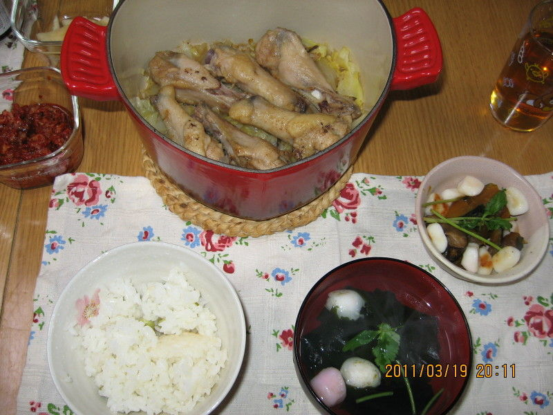 hinatunの!なちゅらる日記-0319キャベツとウィングスティックの蒸し煮