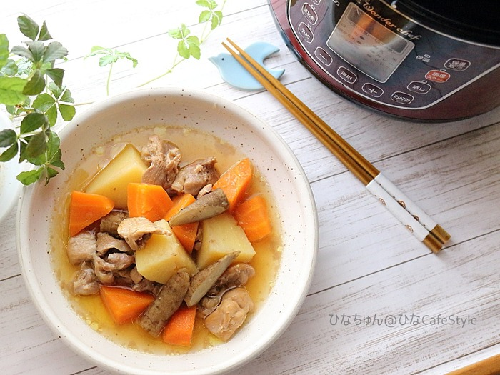 鶏肉と根菜の甘酢煮☆電気圧力鍋で火を使わない調理♪