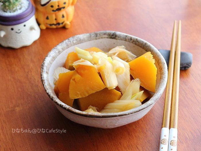 かぼちゃとねぎの煮物☆ただ煮るだけ。献立いろいろつゆで安心&納得の味!