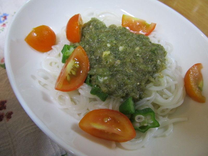 hinatunの!なちゅらる日記-大葉ときゅうりのジェノベーゼ素麺