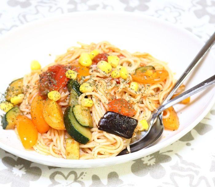 今度こそ!!夏野菜をたっぷり使ったトマトパスタ