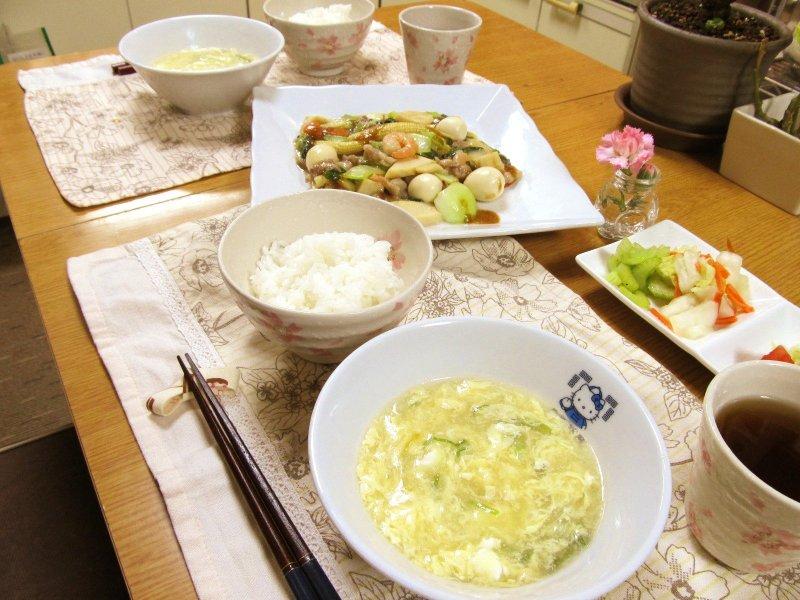 中華の夜ごはん「八宝菜&たまごスープ」