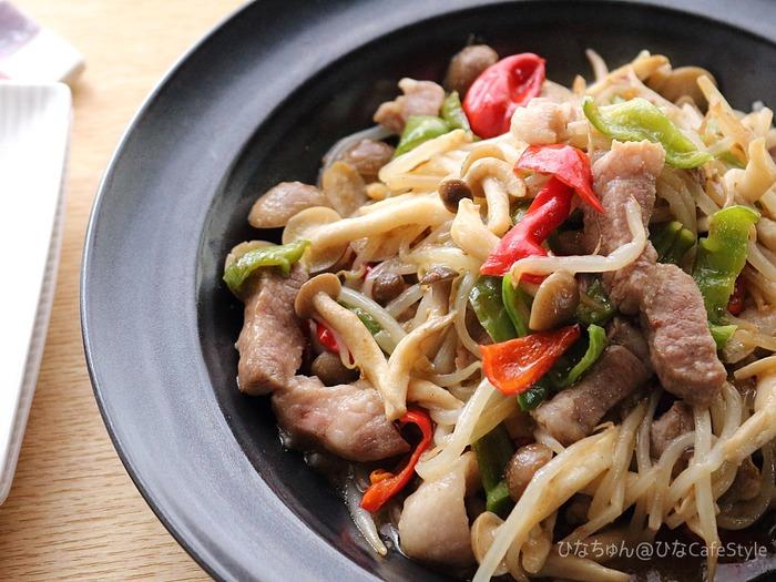 いたってシンプル!肉野菜炒め☆節約野菜でもしっかりボリューム満点!!ボーソー米油部