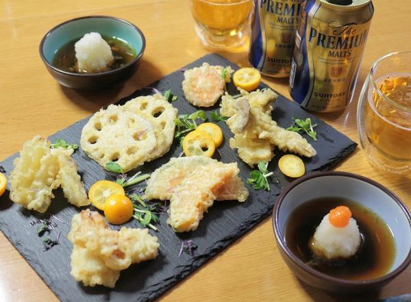 0402プレモルと天ぷらの夜ご飯_1600