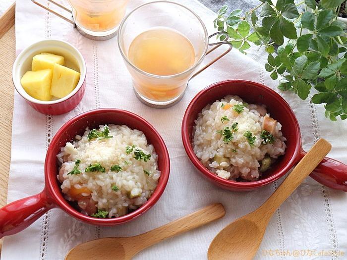 野菜の旨味も一緒に味わうリゾット☆フライパンで本格リゾット!