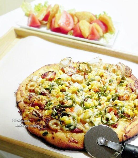 具だくさんの照り焼き和風おもちピザ