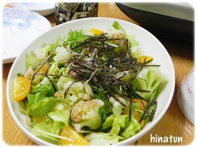 ひなちゅんの!なちゅらる日記-レタスと水菜のサラダ