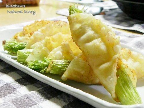 アスパラガスとチーズ&カレーの包み揚げ