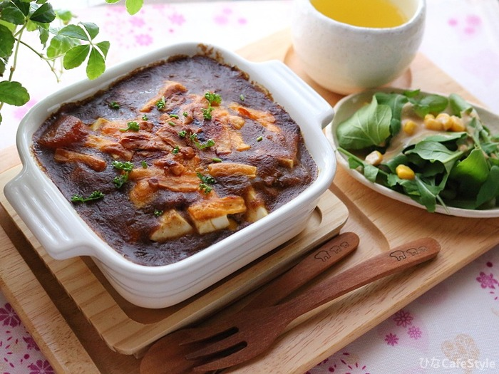 豆腐入り焼きカレーのおひとりさまランチ☆ご飯+豆腐であっさり&さっぱり