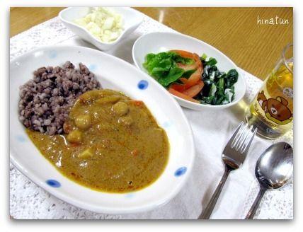 雑穀ご飯で豆カレー&白菜のお漬物 そして ピグライフ