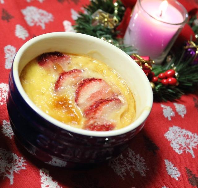 クリスマスデザート☆りんごといちごのクラフティ