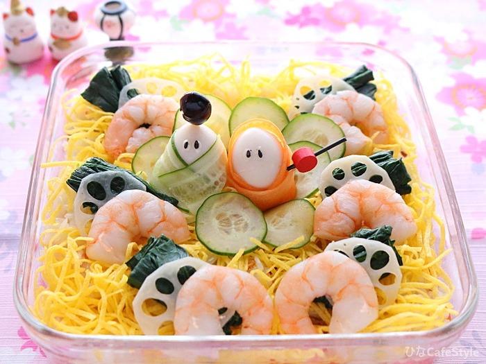 ひなまつりのスコップちらし寿司☆順番に詰めるだけ♪