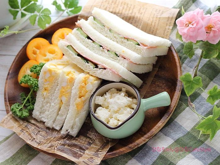 たまごサンド&ハムサンド☆(たまにしか作らないけど)夫が喜ぶサンドイッチ♡