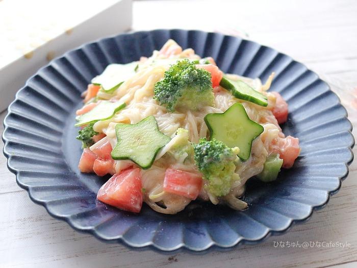 夏野菜のまろやかそうめん☆星型デコきゅうで七夕バージョン