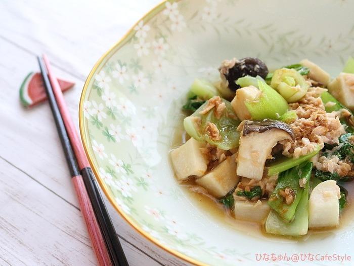 青梗菜とエリンギのツナ和え☆暑すぎるからレンチン料理で!