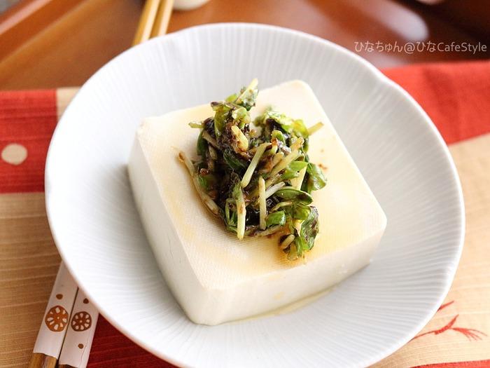 梅かおる海苔と豆苗の冷奴☆キッチンバサミで簡単に!包丁・まな板いらずの豆苗レシピコンテスト