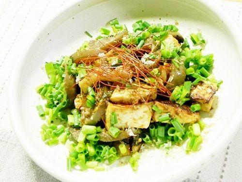 お豆腐と茄子の甘味噌炒め