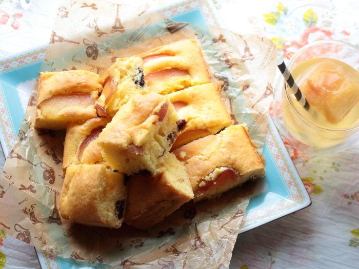 りんごとドライフルーツのたまごケーキ☆工程写真ビフォーアフターで作り方も分かりやすく!休日はケーキ作りも楽しみましょう