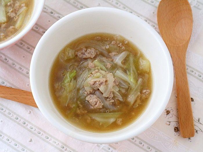 キャベツとひき肉のあんかけ中華スープ☆寒いからこそアツアツが嬉しい!