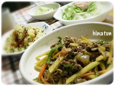 チンジャオロース風&炒飯