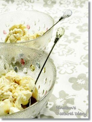 小春ちゃんのアイスクリームを憧れのDANSKのガラス食器で♡