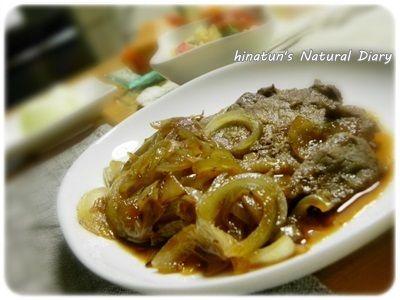 おでんの炊き込みご飯と、牛肉と玉ねぎのガーリックソース炒め