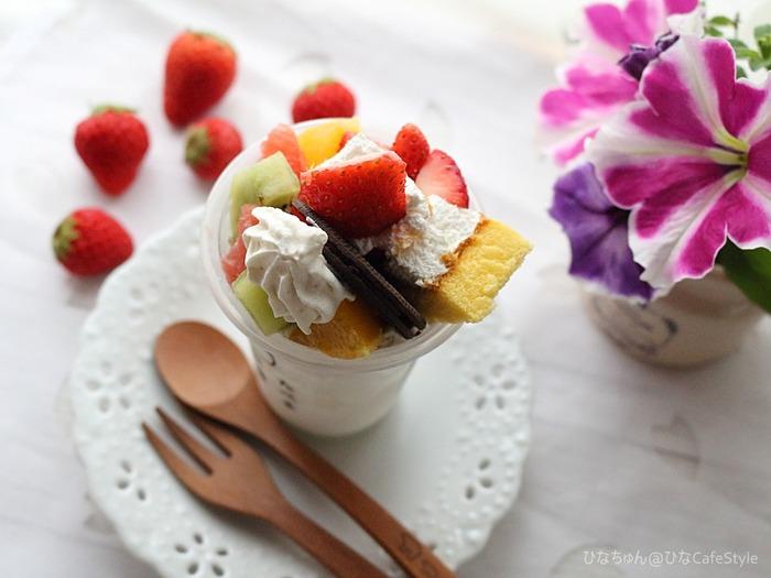 たべる牧場ミルク☆フルーツパフェ&クッキーアンドクリーム☆1度で2つの食べ方アレンジ