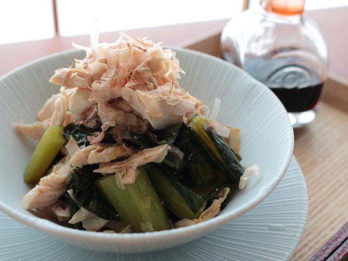 ささみと小松菜のめんつゆ和え2