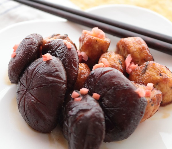 一正蒲鉾の練り製品で作るお弁当のおかず☆白身魚揚げとしいたけの甘煮