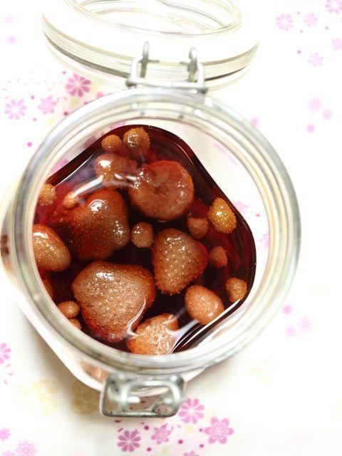 いちご酒とその果肉を使ったパウンドケーキ(ホットケーキMIXバージョン)