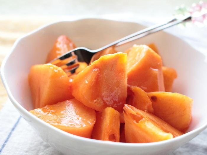 「早秋柿」いただきます。岐阜クッキングアンバサダー