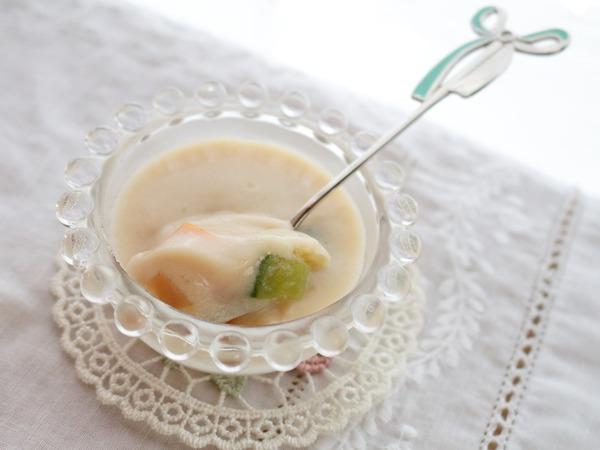 「大豆の冷製スープ」スープだけど野菜を食べる。ヘルシーだけど栄養抜群!ダイエットにもお勧めです!