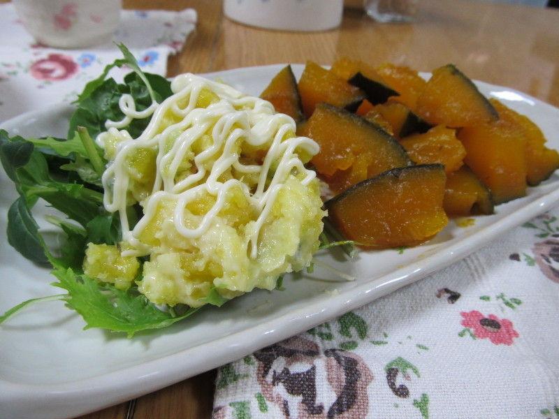 hinatunの!なちゅらる日記-南瓜煮物+さつまいものポテサラ