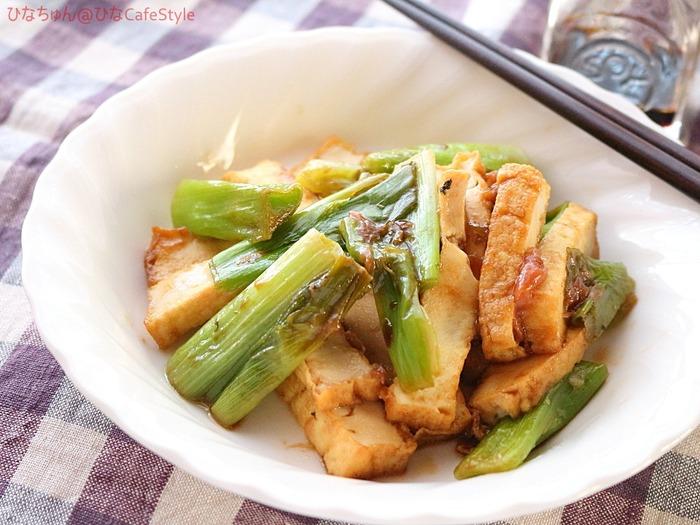 ねぎと厚揚げの梅肉炒め☆厚揚げレシピ:くらしのアンテナ掲載のお知らせ